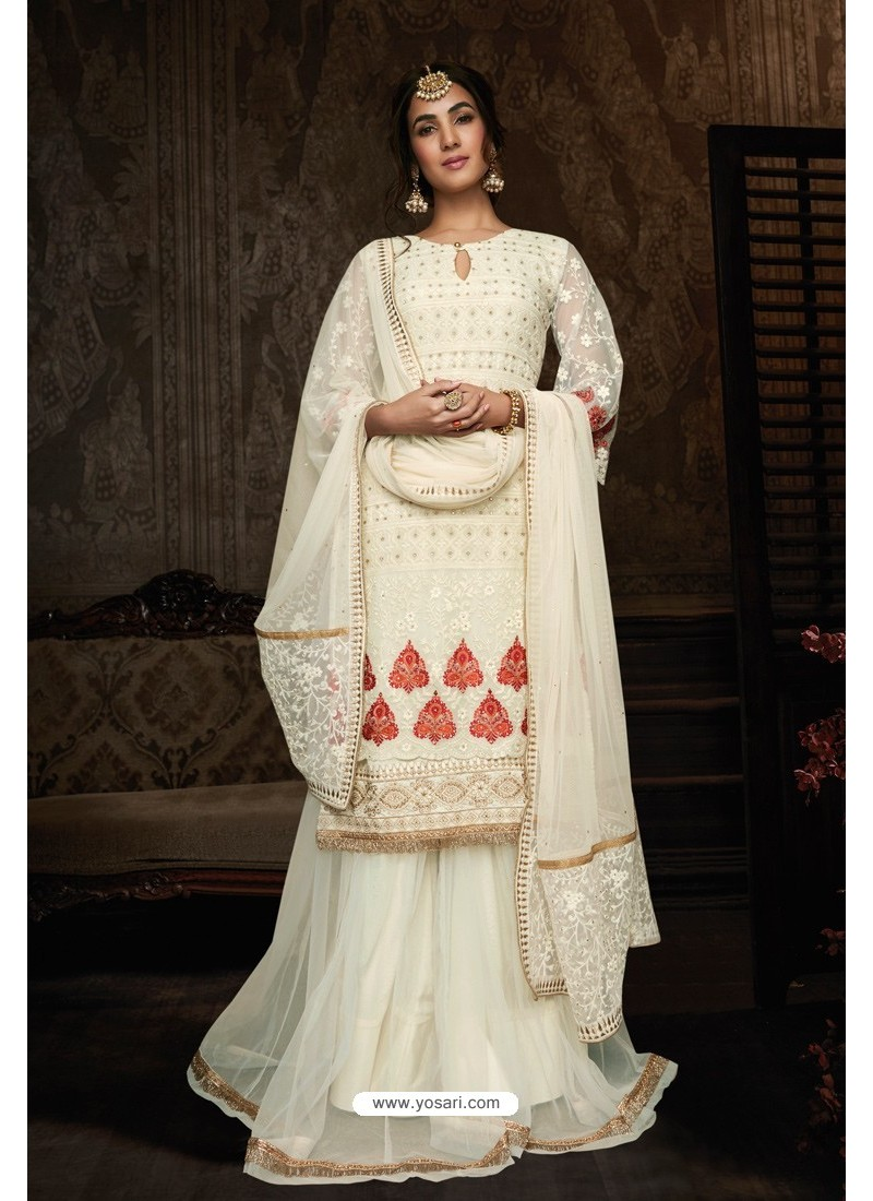 Off White Georgette Designer Party Wear Suit