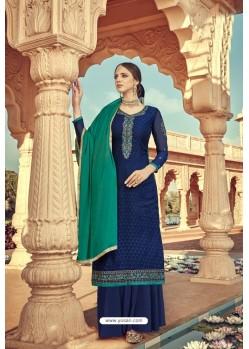Navy Blue Pure Viscose Designer Palazzo Suit