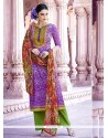 Distinctive Purple Embroidered Work Designer Pakistani Salwar Suit