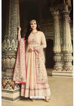 Light Beige Dola Silk Embroidered Anarkali Suit