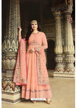 Light Orange Dola Silk Embroidered Anarkali Suit