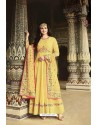 Yellow Dola Silk Embroidered Anarkali Suit