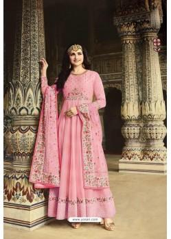 Pink Dola Silk Embroidered Anarkali Suit