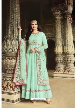 Sky Blue Dola Silk Embroidered Anarkali Suit
