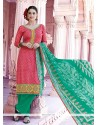 Exuberant Lace Work Hot Pink Designer Pakistani Suit