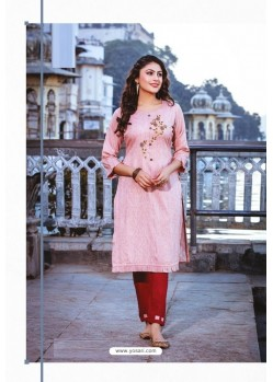 Peach Rayon Readymade Embroidered Kurti