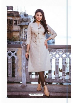 Off White Rayon Readymade Embroidered Kurti