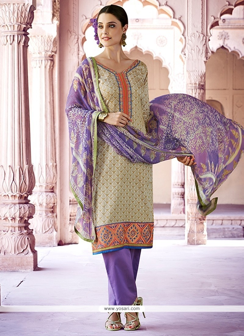 Thrilling Lace Work Cotton Designer Pakistani Salwar Suit