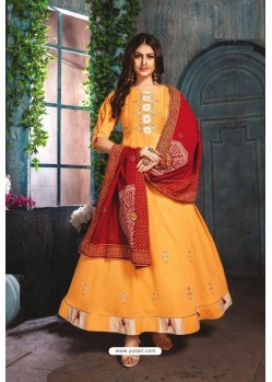 Yellow Chanderi Readymade Long Kurti