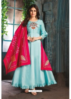 Sky Blue Chanderi Readymade Long Kurti