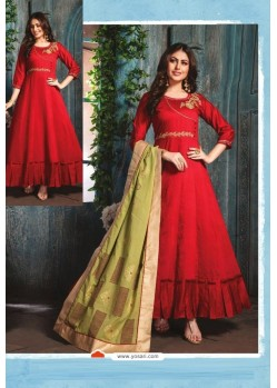 Red Chanderi Readymade Long Kurti