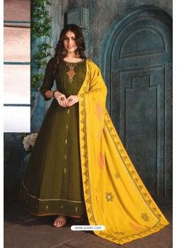 Mehendi Chanderi Readymade Long Kurti