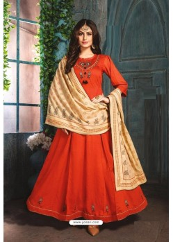Orange Chanderi Readymade Long Kurti
