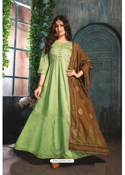 Green Chanderi Readymade Long Kurti