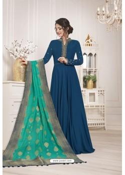 Peacock Blue Muslin Silk Party Wear Anarkali Suit