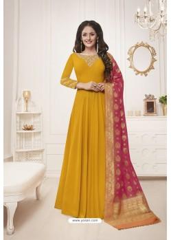 Yellow Muslin Silk Party Wear Anarkali Suit