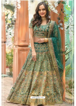 Dark Green Phantom Silk Designer Lehenga Choli
