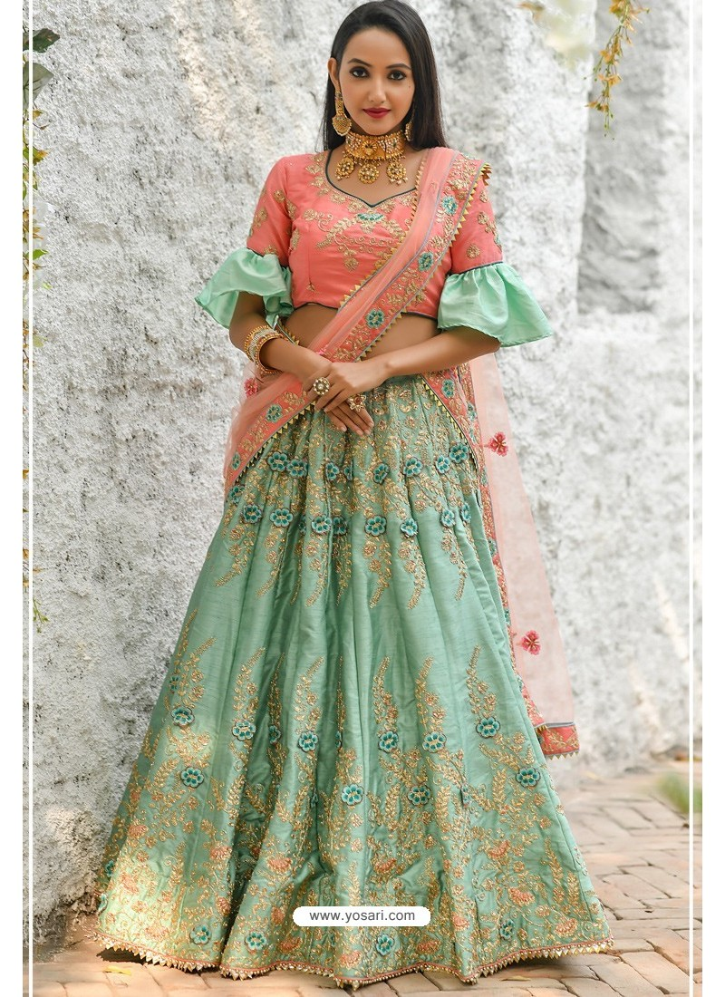Peach And Sea Green Adda Silk Designer Lehenga Choli