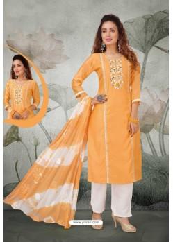 Orange And White Soft Chanderi Designer Straight Suit
