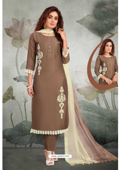 Coffee Lotus Silk Designer Straight Suit