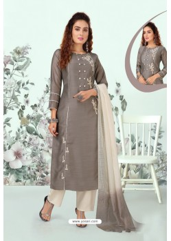 Grey Lotus Silk Designer Straight Suit