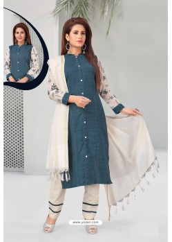 Teal Blue And White Khadi Designer Straight Suit