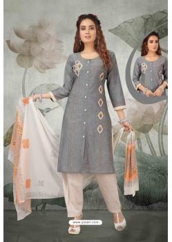 Grey South Handloom Cotton Designer Straight Suit