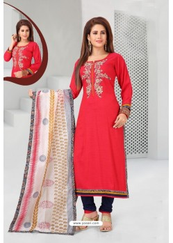 Red And Navy Cotton Designer Churidar Suit
