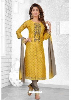 Yellow And Grey Chanderi Silk Designer Churidar Suit