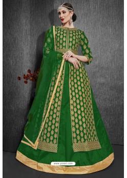 Forest Green Heavy Silk Embroidered Designer Suit