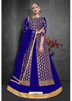 Royal Blue Heavy Silk Embroidered Designer Suit