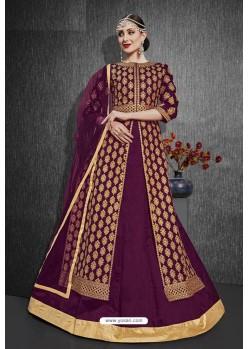 Purple Heavy Silk Embroidered Designer Suit