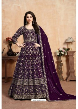 Purple Party Wear Faux Georgette Anarkali Suit