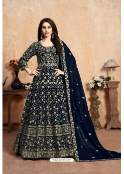 Navy Blue Party Wear Faux Georgette Anarkali Suit