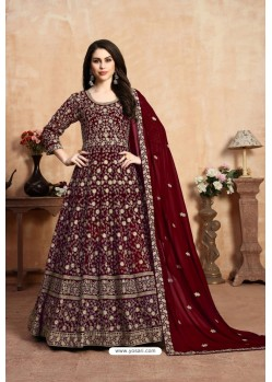 Maroon Party Wear Faux Georgette Anarkali Suit
