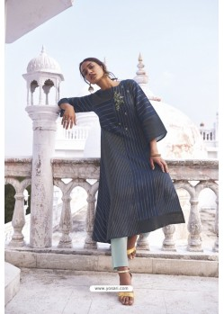Navy Blue Linen Cotton Handloom Kurti
