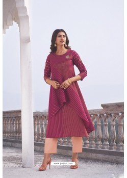 Rose Red Linen Cotton Handloom Kurti