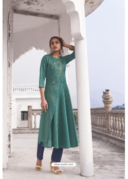 Teal Linen Cotton Handloom Kurti