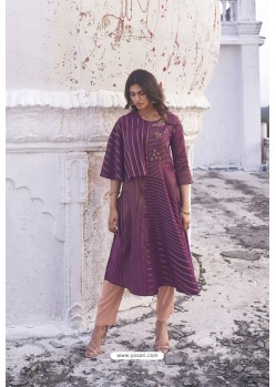 Purple Linen Cotton Handloom Kurti
