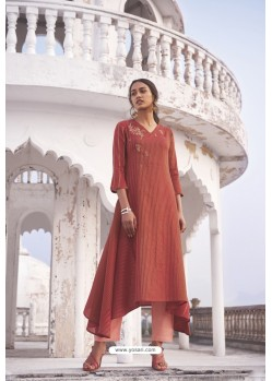 Rust Linen Cotton Handloom Kurti