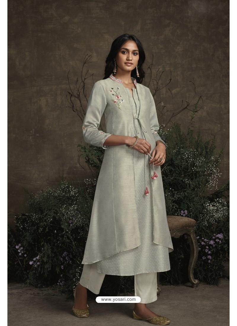 Olive Green Berry Silk Designer Kurti