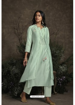 Sea Green Berry Silk Designer Kurti