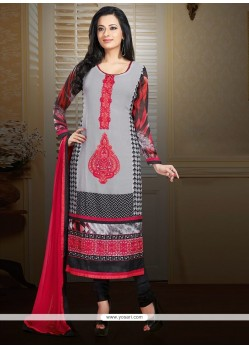 Observable Grey Faux Georgette Churidar Suit