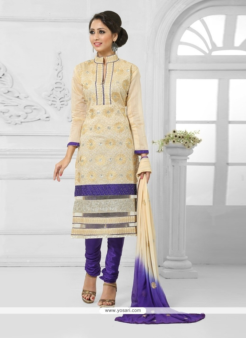 Picturesque Cream And Blue Churidar Salwar Suit