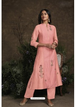 Peach Berry Silk Designer Kurti
