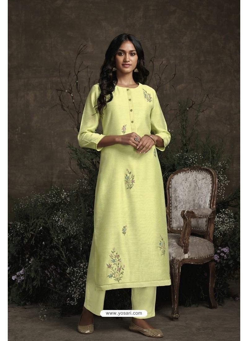 Lemon Berry Silk Designer Kurti