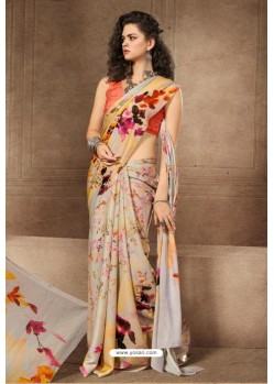 Light Beige Linen Satin Digital Printed Saree