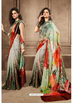 Stylish Multi Colour Linen Satin Digital Printed Saree