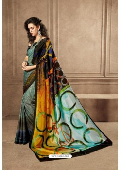 Amazing Multi Colour Linen Satin Digital Printed Saree