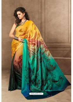 Yellow Linen Satin Digital Printed Saree